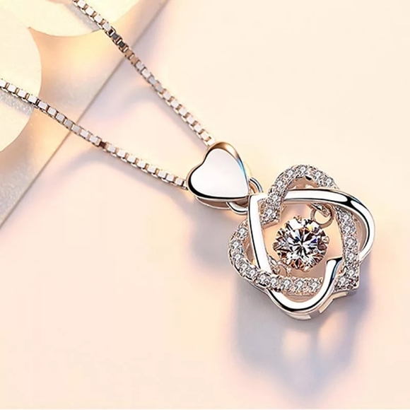 Luxe Boho Tropics Jewelry - Sterling Silver Sparkling Woven Heart Necklace